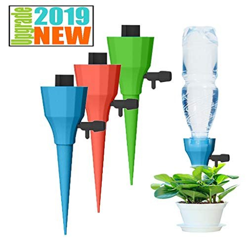 Gotian Auto Drip Lrrigation Watering System Automatic Watering Spike for Plants Flower, Self Watering System, Fill and Insert into Soil, Plant Waterer (Yellow)