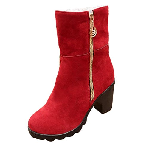Allywit Women High Heel Half Ankle Boots Winter Martin Footwear Warm Boot Shoes (6, Red)