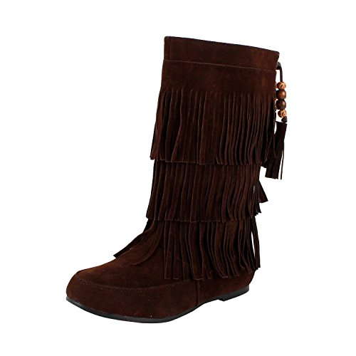 West Blvd Womens LIMA MOCCASIN Boots 3-Layer Fringe Tribal Indian Winter Faux (Ladies Fringe)