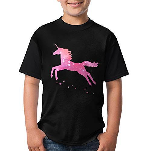 Da Jian Hong Pink Galaxy Unicorn Youth Fashion Pullover Short Sleeve Graphic Tops Tees T-Shirt XL (Mexico Sleeve Cap Womens T-shirt)