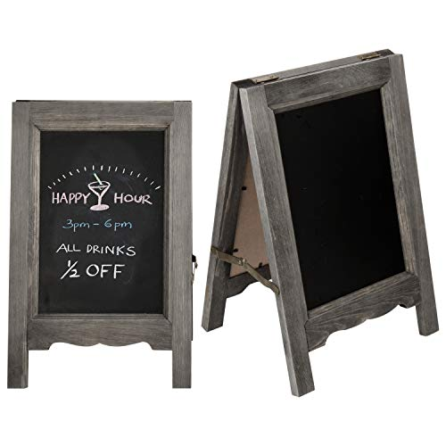 MyGift Rustic Gray Wood 15-Inch Double-Sided A-Frame Chalkboard Signs, Set of 2