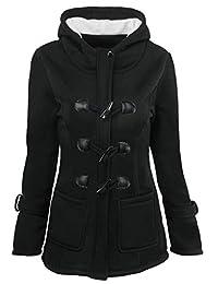 Domple Women's Autumn Winter Classic Outdwear Wool Blended Hooded Pea Jacket
