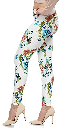 LMB Lush Moda Extra Soft Leggings with Designs- Variety of Prints - 759F Floral on White ()