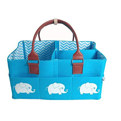 Newborn Baby Diaper Caddy (Blue)– Nursery Organizer – Baby Shower Storage Basket for Diapers, Wipes, Toys – Portable & Practical – Gorgeous Design – 4 Removable Dividers & 8 Pockets – Polyester Felt