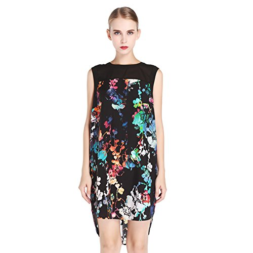 N.C.F. Women's 100% Natural Silk Gorgeous Floral Printed Midi Dress (Dress Printed Silk)
