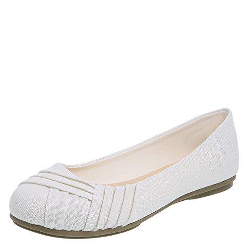 Lower East Side White Silver Fabric Women's Bree Pleated Flat 8.5 Regular