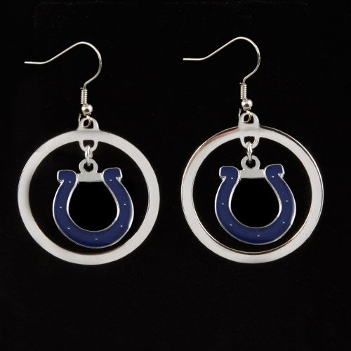NFL Indianapolis Colts Floating Logo Hoop Earrings