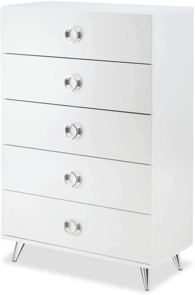 ACME Furniture 97370 Elms Chest in White and Chrome, One Size
