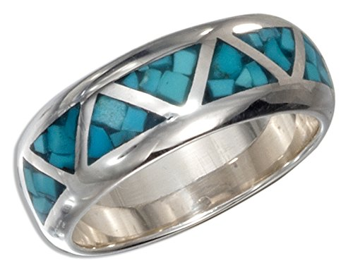 - Sterling Silver Triangle Shaped Reconstituted Turquoise Inlay Wedding Band (size 05)