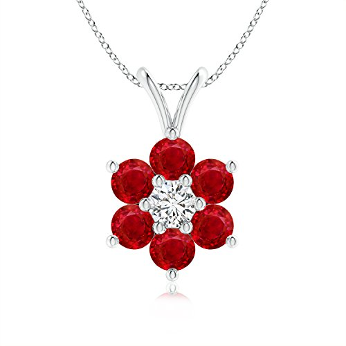 Ruby Flower Pendant - July Birthstone - Classic Six Petal Natural Ruby Flower Pendant with Diamond in 14K White Gold (2.5mm Ruby)