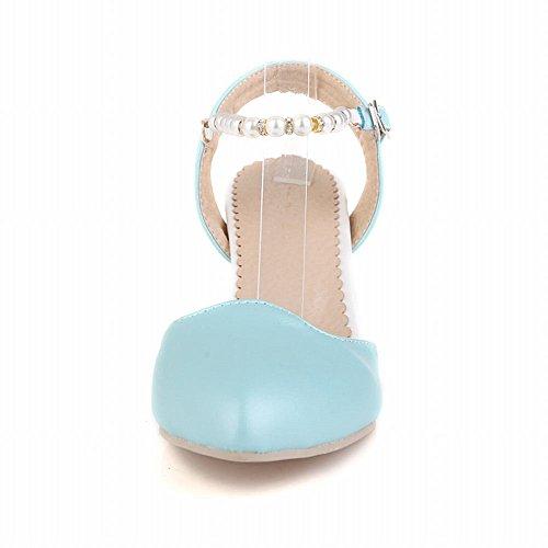 Carolbar Donna Strass Perline Fibbia Dolce Eleganza Nuziale Grosso Vestito Tacco Alto Sandali Blu