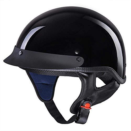 LeeMas Inc Motorcycle Helmet Half Face Retro DOT Approved Skull Cap Open Face Cruiser Chopper Biker Scooter High Gloss Black Size M