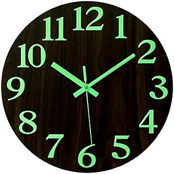 "Sunbright Luminous Wall Clock Glowing in the Dark,Silent Non-Ticking 12/"" Black"
