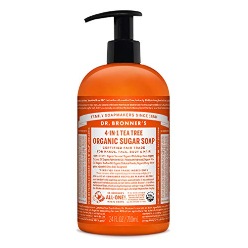 Dr. Bronner's - Organic Sugar Soap (Tea Tree, 24 Ounce) - Made with Organic Oils, Sugar and Shikakai Powder, 4-in-1 Uses: Hands, Body, Face and Hair, Cleanses, Moisturizes and Nourishes, Vegan (Dr Bronners Tea Tree Bar Soap Reviews)