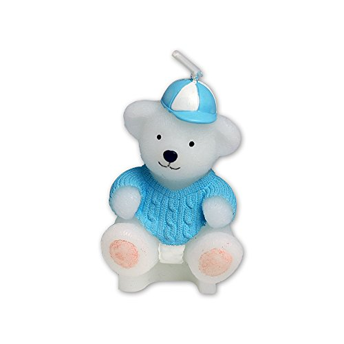Charminggifts Zoo Animal Smokeless Birthday Candle For Wedding And baby shower Favor (Blue Teddy bear) Teddy Bear Candles
