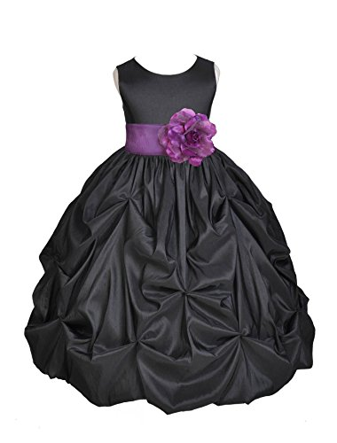 Sash Taffeta Wedding Dress (Wedding Pageant Black Bubble Pick-up Toddler Taffeta Flower Girl Dress 301s 4)