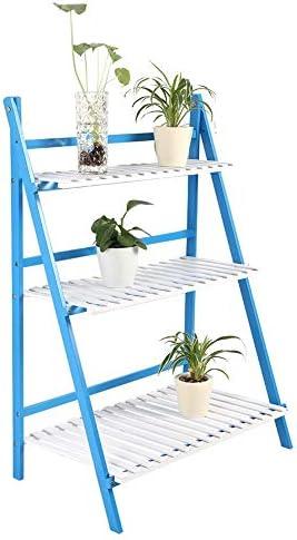 Escalera Maceta, 3 Niveles Soporte Plantas Estanteria Macetas Escalera para Flores de Madera para Flores Decorativa para Plantas Exterior Interior Jardín Azul y Blanco, 70x40 x96 cm: Amazon.es: Jardín