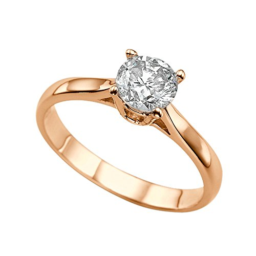 Moissanite Forever Classic 6.50MM (0.86CT Moissanite Weight,1.00CT Diamond Equivalent Weight) Engagement Ring 14K Gold