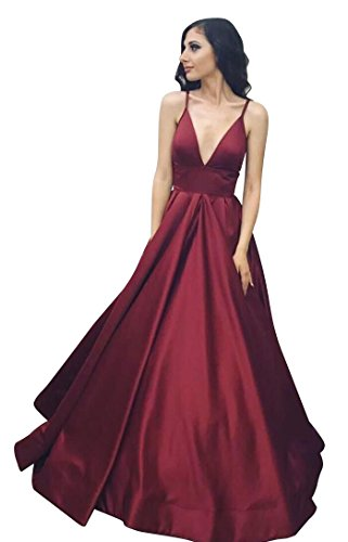 VinBridal Long Spaghetti Straps Satin Ball Gown Prom Dresses with Pockets Burgundy