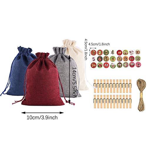 MiMiey Adventskalender Tüten Zum Befüllen Jute Säck Weihnachten Deko Kalender Stoffbeutel Geschenktüten (Stil-E)