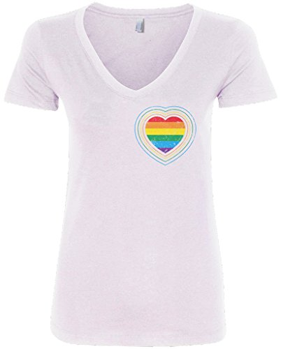 Threadrock Women's Gay Pride Rainbow Heart V-Neck T-Shirt M White - T-shirt Marriage White Gay