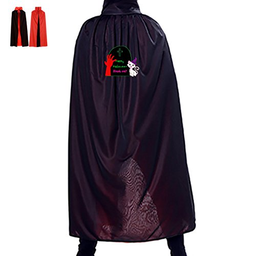 Red Claws and Black Cat Halloween Cloak Full Length Cape Dress Masquerade Adult Cosplay Costume