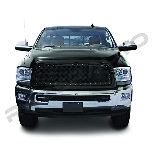 Razer Auto Gloss Black Rivet Studded Frame Mesh Grille Complete Factory Replacement Grille Shell for 10-17 Dodge RAM Trucks 2500+3500+Heavy Duty ()