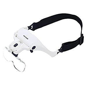 Yoctosun Head Mount Magnifier with 2 LED Professional Jeweler's Loupe Light Bracket and Headband are Interchangeable 5 Replaceable Lenses: 1.0X, 1.5X, 2.0X, 2.5X, 3.5X (Upgraded Version) from Yoctosun