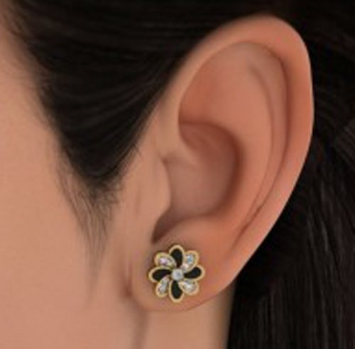 18K Or jaune 0.24CT TW White-diamond (IJ   SI) Boucles d'oreille à tige
