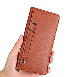Perkie Luxury Flipper Faux Leather Wallet Flip Case Kick Stand Magnetic Closure Flip Cover for Realme 8 (Brown)