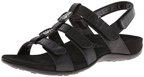 Vionic Womens Amber Open Toe Casual Slingback Sandals, Black Crocodile, Size 9.0