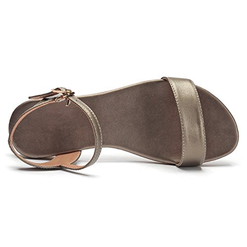 Soft Shoes Tribble Basic Women Summer Buckle Gold Genuine Sandals Size Strap Leather 34 Rubber Jeff Sole 43 wSfqHXX