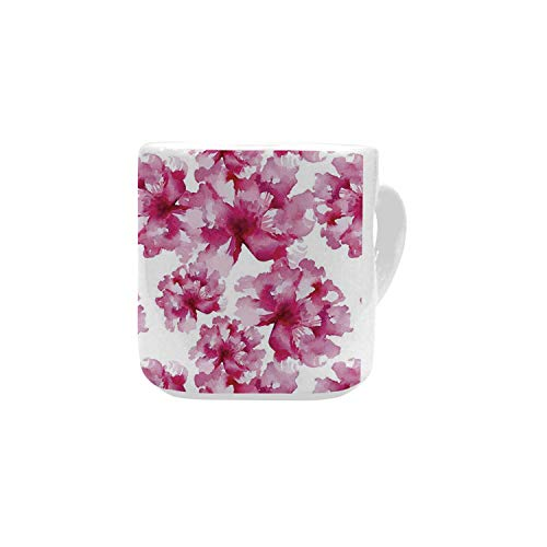 Watercolor White Heart Shaped Mug,Abstract Floral Arrangement Peonies Pattern Botany Themed and Nature Inspired for Home,2.56