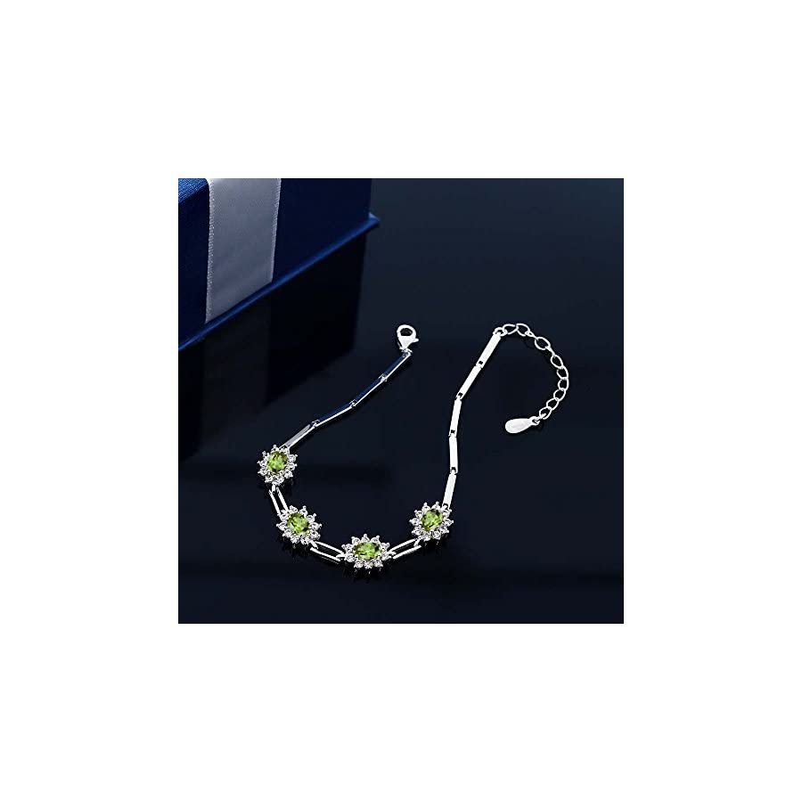 925 Sterling Silver Peridot Women's Tennis Bracelet 4.00 Carat Oval Shape Gemstone Birthstone 7 Inch with 1 Inch Extender