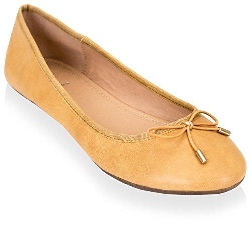 Gc Chaussures Femmes Ballet Plat Bronzage