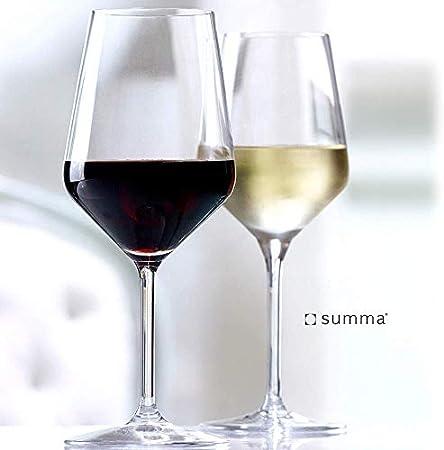 Summa - Copas de Vino. Set de 6 unidades. 370ml/37cl | Cristal, alta transparencia y borde fino | Uso en casa, restaurante y fiestas |