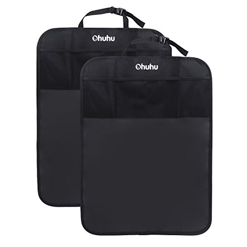 Ohuhu Kick Mats Back Seat Protector with Storage Pocket - 2 Packs Car back Seat Organizer for Baby Travel Accessories, Kid Food - Auto Seat Kick Mats for Protecting Baby Kicks, Fits Car, SUV, Truck