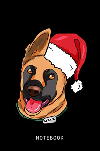 Notebook: Happy Belgian Malinois Dog Wearing A Christmas Hat