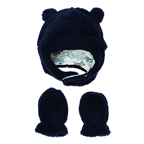(Little Me Baby Boys Fleece Winter Hat with Chin Strap and Mittens Navy Blue 12-24)