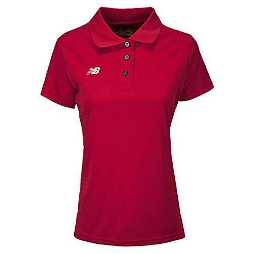 New Balance Womens S/S Polo White Polo Shirt LG Team Red