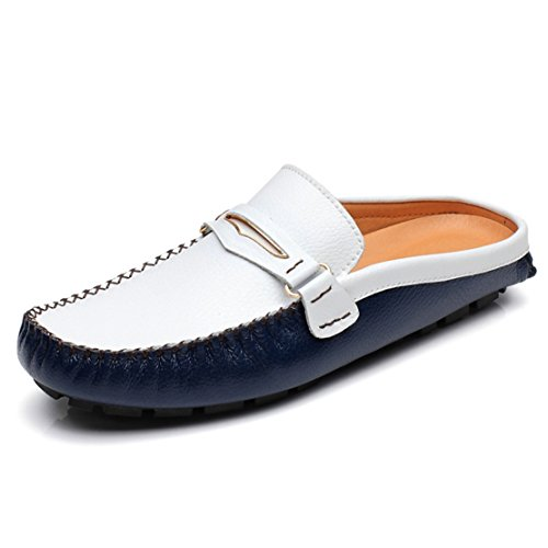 Go Tour Mens Tassels Leather Mule Slip-on Backless Slippers Shoes Blue 47 by Go Tour