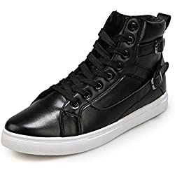 GIY Men Fashion High-top Lace-up Sneaker Round Toe Platform Casual Bootie Shoes
