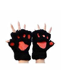 GOOTRADES Cute Cat Bear Paw Fingerless Faux Fur Plush Gloves for Women (Black)