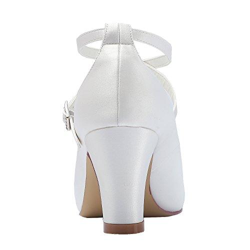 Fibbia da Heel Sposa Alto Punta HC1808 Scarpe Tall Satin Chiusa Donna alla Avorio Incrociato Pompe Elegantpark Caviglia Cinturino 1qHAxxZ