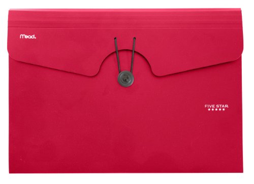 Five Star 6-Pocket Expanding File, 13 x 9.38 Inches, Red (72387)