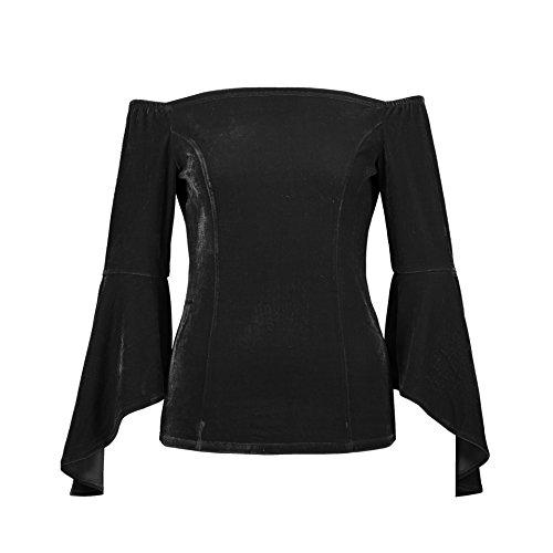 Femmes Shirts Printemps Blouse Bateau Noir Chemisiers Hauts Col Sleeve Tees Velours et Shirts Tops Automne Flare Fashion Slim Sexy Jumpers T fBBqvgwt