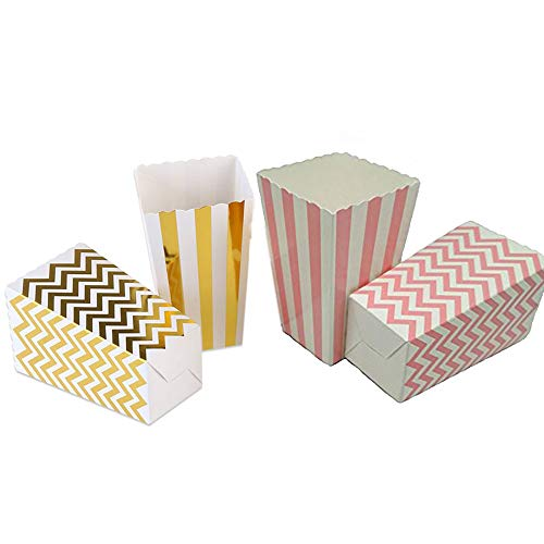 Popcorn Boxes Cardboard Candy Boxes For Birthday Bridal and Baby Shower Carnival/Graduation/Party/Movie/Fiesta Dessert Tables Wedding Party Supplies 48pcs Pink Gold