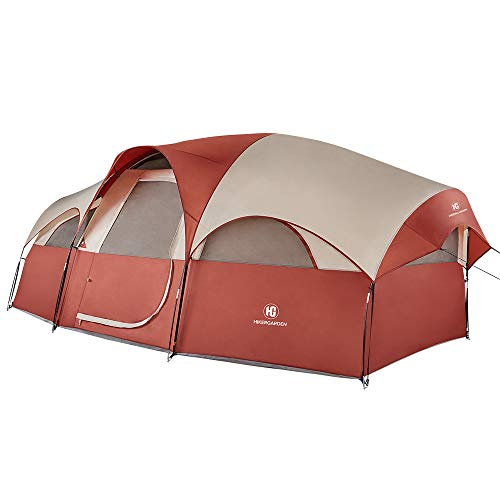 TOMOUNT 8-Person Tent - Quick & Easy Setup Camping Tent, Professional Waterproof & Windproof Fabric, Anti-UV, 5 Large Mesh for Ventilation, Double Layer, Lightweight & Portable with Carry Bag, Red - Spring Person Tent