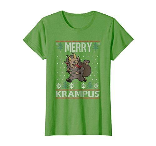 Womens Merry Krampus Demon Claus Christmas Sweater Jumper T-Shirt Small Grass -