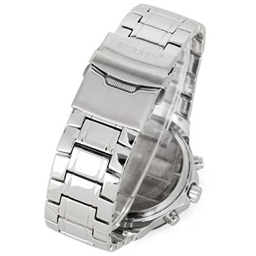 Amazon.com: ShoppeWatch Reloj De Hombre Deportivos De Lujo Acero Inoxidable - Mens Bracelet Watch - CR8063SLBK-100: Watches